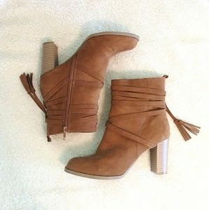 Report Tan Heeled Zip Up Boots with Tassels